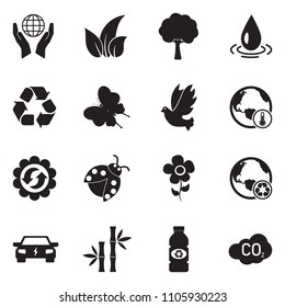 Environment Icons. Black Flat Design. Vector Illustration.
