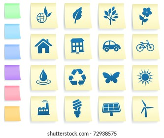 Environment Icons on Post It Note Paper Collection Original Illustration