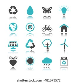 environment icons with reflection isolated on white background