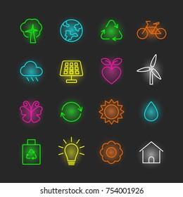 environment neon icon set, vector design editable stroke