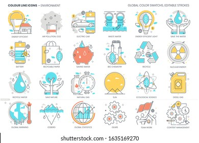 Environment, pollution related, color line, vector icon, illustration set. The set is about climate change, global warming, energy, industry, gas emissions, nature, health, forests, iceberg.