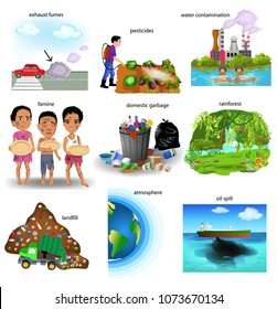 environment problems like exhaust fumes, pesticides, water contamination, famine, domestic garbage, rainforest, landfill, atmosphere, oil spill