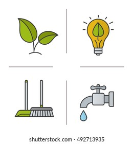 Environment protection color icons set. Ecology sign, cleaning service, water resources, eco energy concept. Isolated vector illustrations