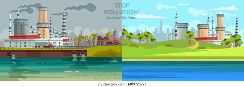 Environment protection flat banner vector template. Volunteers, cleaners crew cartoon characters. Ecological danger, waste recycling posters set. Polluted and clean city illustration with text space