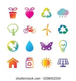 environment vector gradient icons, trendy design elements