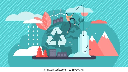 Environment vector illustration. Renewable nature resources collection for earth sustainability. People effect on climate change. Alternative energy and organic thinking and lifestyle. Recycle symbol.