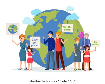 Environmental activists with posters flat illustration. Nature protection, Earth planet saving, eco conservation, green technology meeting. Protest action against pollution, ecological problem concept