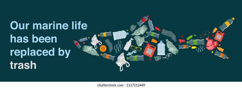 environmental banner plastic garbage fishes icons decor