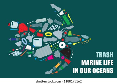 environmental banner plastic garbage trash marine life in our ocean decor