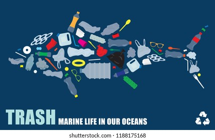 environmental banner plastic garbage trash marine life in our ocean decor