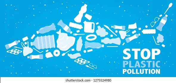 environmental banner plastic garbage trash marine life in our ocean and text stop plastic pollution decor Vector illustration
