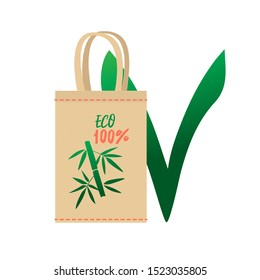 Environmental canvas bag for reusable use. A world without plastic. Environmental problems and environmental pollution problems. Landfills, garbage, recyclables.