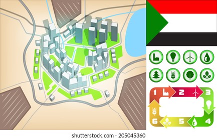 environmental city map and icons set with Sudan flag vector illustration