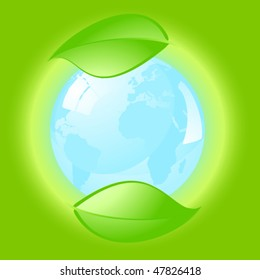 Environmental conceptual illustration over a green background. Vector image.