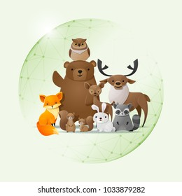 Environmental conservation concept with wild animals protected in polygonal sphere shield , vector , illustration