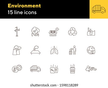 Environmental contamination icons set. Air pollution, planet contamination, greenhouse effect. Environment concept. Vector illustration can be used for topics like environment, nature, industry