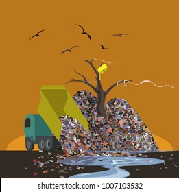 Environmental disaster. Garbage truck unloads waste in a landfill, poisoning soil and water. Ecological poster design. Vector illustration