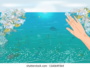 Environmental disaster of plastic debris in the ocean. The concept of ecology and World Cleanup Day.