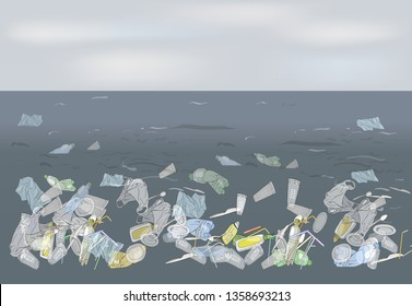 Environmental disaster of plastic straws, pollution, waste in the ocean. Garbage in the sea. The concept of ecology and the World Cleanup Day. Vector hand drawn illustration