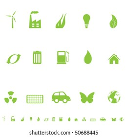 Environmental and ecological symbols icon set