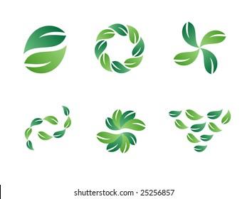 Environmental Green Leaf Vector Design Elements