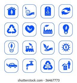 Environmental icons - blue series