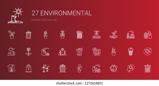 environmental icons set. Collection of environmental with ozone layer, landslide, plant, recycle bin, wind turbine, paper bin, acid rain. Editable and scalable environmental icons.