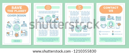 environmental issues brochure template layout save stock vector