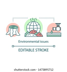Environmental issues concept icon. Environment pollution, deforestation global eco problems idea thin line illustration. Ecosystem waste contamination. Vector isolated outline drawing. Editable stroke