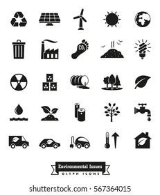 Environmental Issues icon set. Collection of Environment and Climate related vector glyph icons