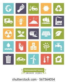 Environmental Issues icon set. Collection of Environment and Climate related square color vector icons