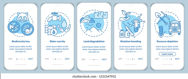 Environmental issues onboarding mobile app page screen vector template. Biodiversity loss. Walkthrough website steps with linear illustrations. UX, UI, GUI smartphone interface concept