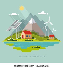 Environmental landscape cottages mountains in the background. Solar and wind energy. Construction of a public institution protection.  Flat design style vector illustration.