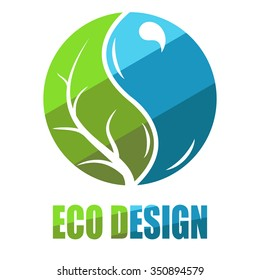 Environmental leaves and water icon. Vector eco icon, logo, label, badge