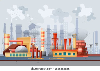 Environmental pollution by industrial dirty waste. Smoke through the pipes gets into the air, toxic waste chemicals in water. Factory and plants pollute nature, waste industrial production vector