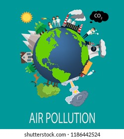 Environmental pollution concept, Clean and dirty ground, polluting factors against vs ecosystem. Air pollution illustration. The problem of ecology: Factory, smog, chemical waste. Vector illustration