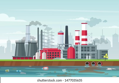 Environmental pollution concept in flat style, vector illustration