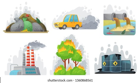 Environmental pollution. Contaminated air, industrial radioactive waste and ecological awareness. Waste problems or environment exhaust pollutions. Cartoon vector isolated icons illustration set