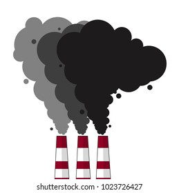 Environmental pollution problem and nature environment, black smoke pipes of factory, ecology industrial harm. Air, earth  factory pollute with carbon gas.Vector flat illustration.