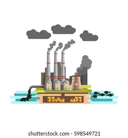 Environmental pollution problem and nature environment or ecology industrial harm. Air, earth and water factory pollute with carbon gas or chemical residual waste. Eco concept vector flat illustration