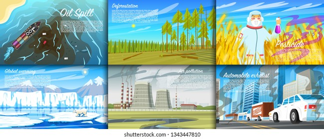 Environmental pollution. Set of radioactive industry. Ecological problems Deforestation, global warming, oil spill, Pesticides Automobile exhaust, desertification and plastic. Dirty Air Water Earth.
