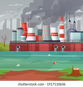 Environmental pollution vector illustration. Air pollution, pollutant fog gas and industrial smog. Factories emitting smoke through chimneys