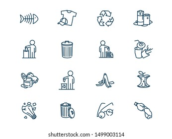 Environmental pollution vector linear icons set. Elements garbage outline symbols pack. Collection of simple sorting of waste icons isolated contour illustrations. Trash can. Banana peel. Recyclables