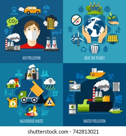 Environmental problems concept icons set with water and air pollution symbols flat isolated vector illustration
