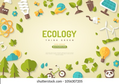 Environmental protection, ecology concept horizontal banner in flat style. Vector illustration for web banners and promotional materials.