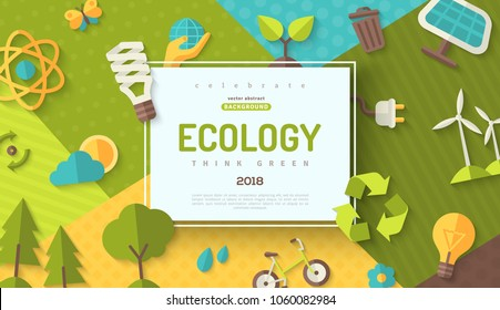 Environmental protection, ecology concept horizontal banner in flat style with square frame on colorful modern geometric background. Vector illustration