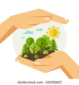 Environmental protection, ecology concept illustration in flat style.