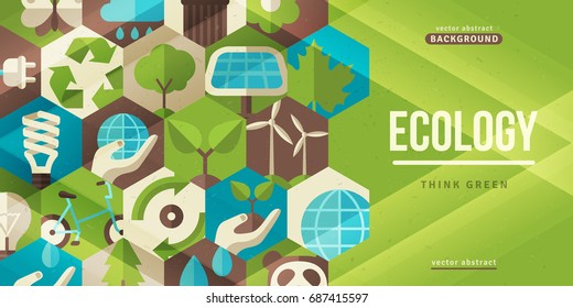 Environmental protection, ecology horizontal banner in flat style. Vector illustration. Ecological icons in hexagons. Concept for web and promotional materials.