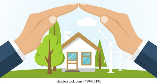Environmental protection. Hands holding earth. Ecology concept. Protection ecology. Vector illustration flat design. Banner environmental protection.