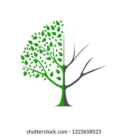 Environmental protection - template of a tree for nature protection. Tree with leaves and falling leaves, divided in half into two parts. Half the tree is healthy, half is sick.